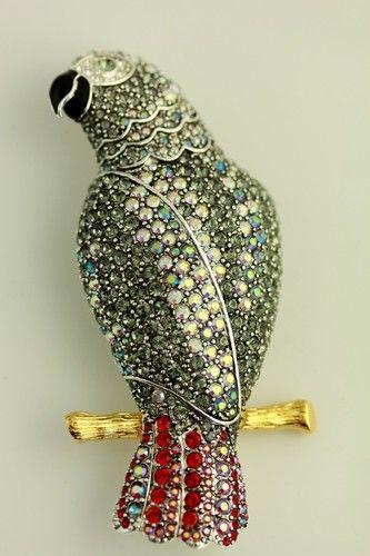 Joan Rivers Crystal Parrot Brooch