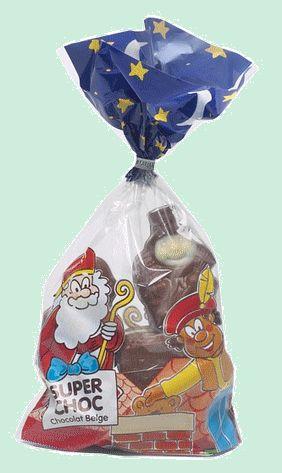 SUPERCHOC figurines décorés chocolat Belge 250gr SUPERCHOC figurines décorés en chocolat Belge. Différents sujets de Saint Nicolas en chocolat belge décorés. Assortiment de St Nicolas. www.chockies.net