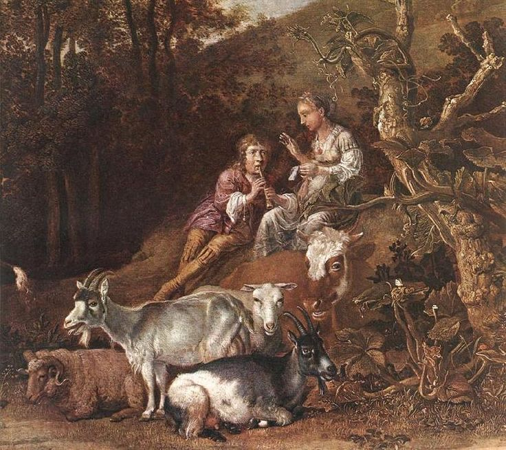 Paulus Potter, Landscape with Shepherdess Shepherd Playing Flute ...