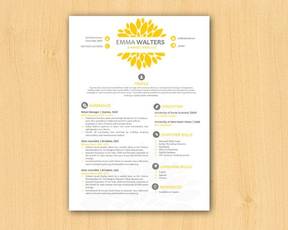 yellow chrysanthemum modern diy microsoft word resume template  1  u0026 2 p   resume template word