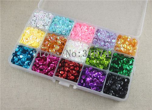 5mm mix 15 colors flake Rainbow Cup Sequin for home decortation wedding decoration 1 box/lot(Approx 1000pcs) 24010058(5HS1box)