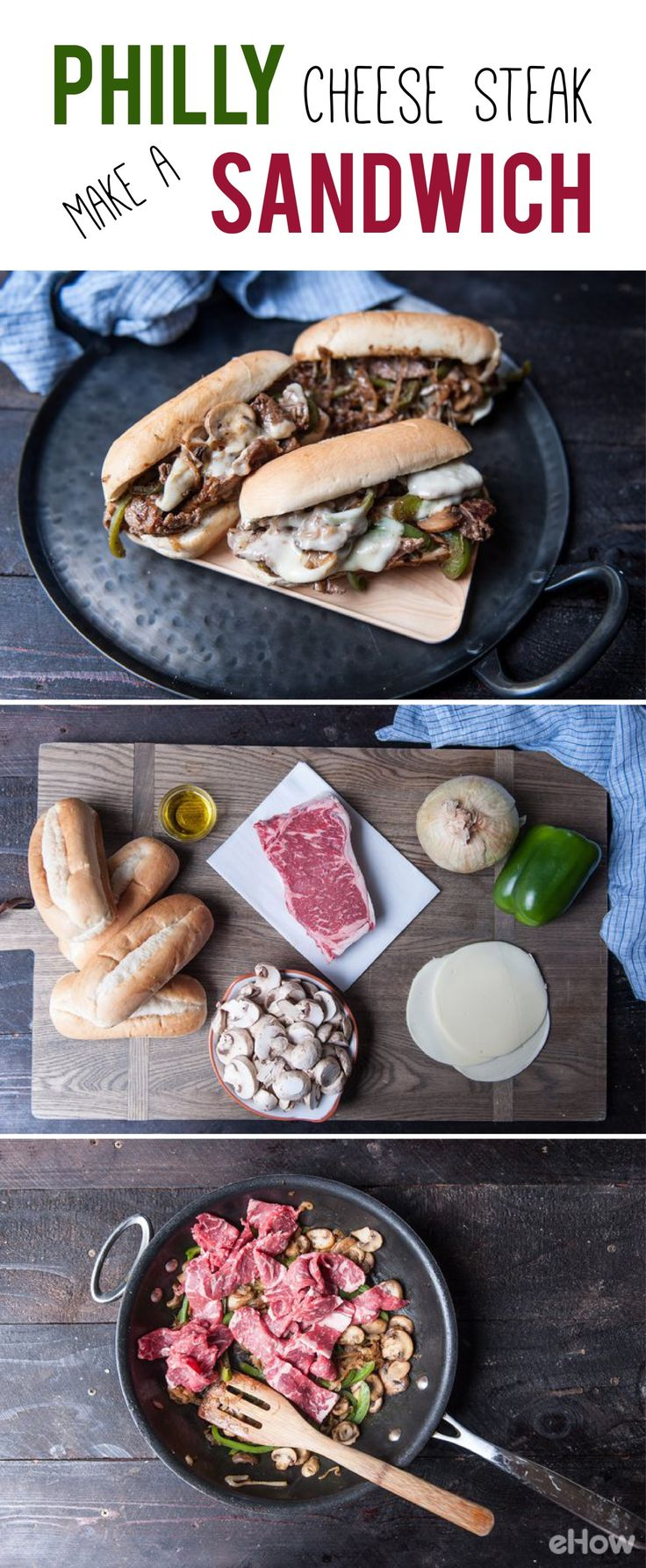 The ultimate Philly Cheese Steak sandwich is made with sweet caramelized onions, tangy provolone, a soft roll and, of course, the flavorful steak! A must have recipe to master ASAP: http://www.ehow.com/how_2118532_philly-cheese-steak-sandwich.html?utm_source=pinterest.com&utm_medium=referral&utm_content=freestyle&utm_campaign=fanpage