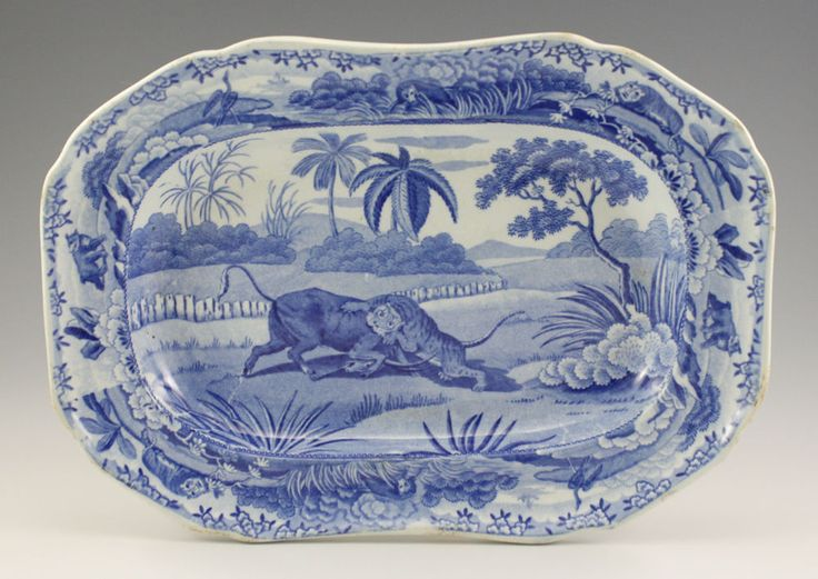 Pottery Pearlware Blue Transfer Spode Indian Sporting Platter 1815 Tiger Perfect