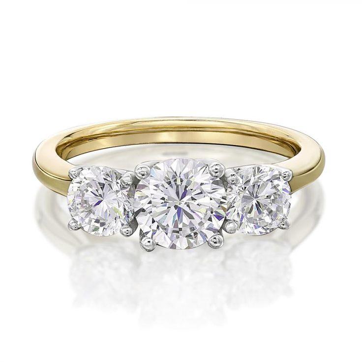 Round Brilliant Cut 3 Stone Trilogy Engagement Ring | Secrets Shhh
