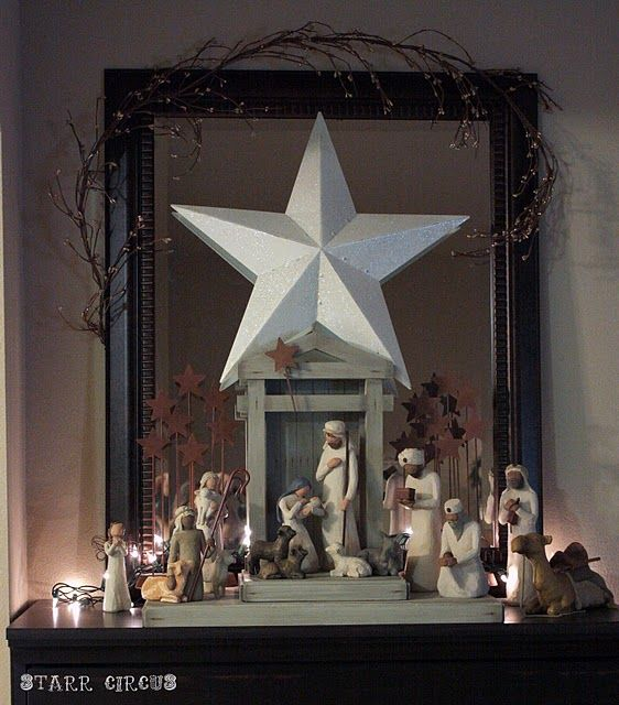 Pretty way to display nativity : Holiday, Willow Trees, Display Native, Native Scene, Native Display, Christmas Decor, Nativity, Native Sets, Trees Native