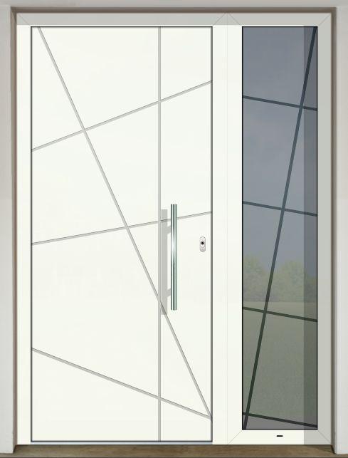 Vchodové dvere s hliníkovou dvernou výplňou GAVA 572 FD (s prekrytým krídlom) s pieskovaním Cruzi INV v bočnom svetlíku