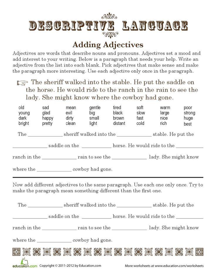 Descriptive writing for kids