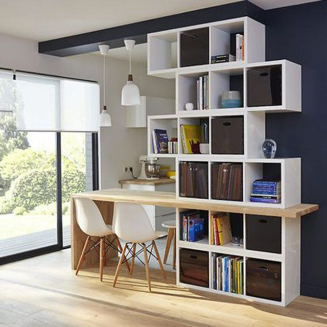 une cuisine semi ouverte avec une biblioth que house architecture small rooms and kitchens. Black Bedroom Furniture Sets. Home Design Ideas