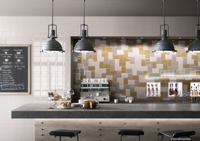 FREESTYLE by GIO in Grey, White, Yellow, and Decoria. #walltile #commercial #tile #interior #design