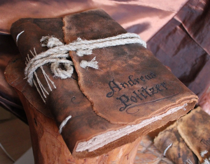 Medieval look personalized leather journal- guest book with brown craft paper