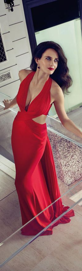 Long wavy hair, elegant and timeless hairstyles Eva Green wearing a Hervé L. Leroux dress for the Campari Calendar 2015