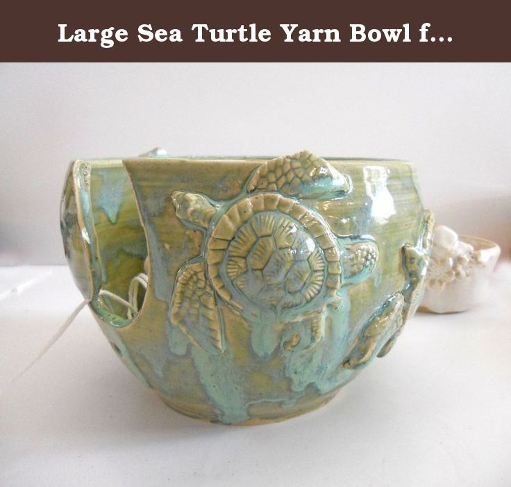 Large Sea Turtle Yarn Bowl for Knitting & Crochet. Three large sea turtles adorn this knitting bowl yarn bowl. Perfect for knitters and crocheters to help keep your balls of yarn nestled in style. Hand crafted on my wheel from buff speckled stoneware, the turtles are created from my handmade molds are then attached to this piece like the shoreline to the ocean. This beauty is in prodcution and will ship within 2 weeks. Measures approximately 7.5 inches across & 5-6 inches high. You can...