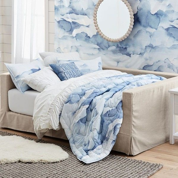 PB Teen Cloud Comforter, Twin, Multi ($74) ❤ liked on Polyvore featuring home, bed & bath, bedding, comforters, cloud bedding, twin bedding, pbteen bedding, x long twin comforter and machine washable comforter