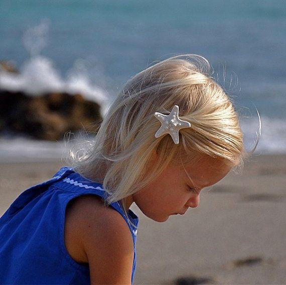 Starfish Hair Clip or Barrette-SEA STAR-Beach Weddings, Children Girls Toddlers, Mermaid Hair, Birthday Party Favors, Ocean, Summer Hair