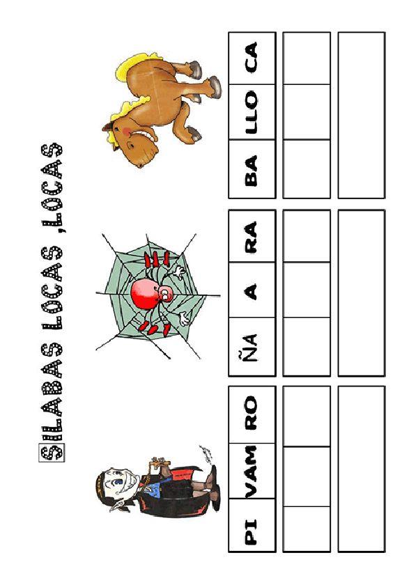 Actividades para imprimir Pon las sílabas en orden. http://pequescuela.com/actividades-preescolar-imprimir-silabas-locas8.html
