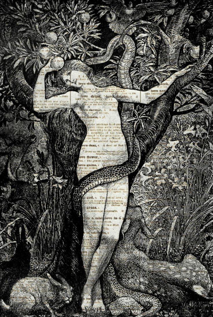 Eve in the Garden of Eden Dictionary Art by reimaginationprints