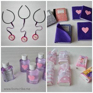 DIY Doc McStuffins Birthday Party Favor Tutorials: stethoscope, book of boo boos, hand sanitizers, 'achoo' tissues