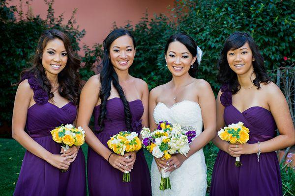 Yellow and Purple Wedding Theme in Redondo Beach California