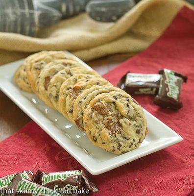 Milky Way Cookies  #cookierecipe #MilkyWayBars #desserts  http://www.thatskinnychickcanbake.com/2013/07/milky-way-chocolate-chip-cookies-twosweetiepies.html