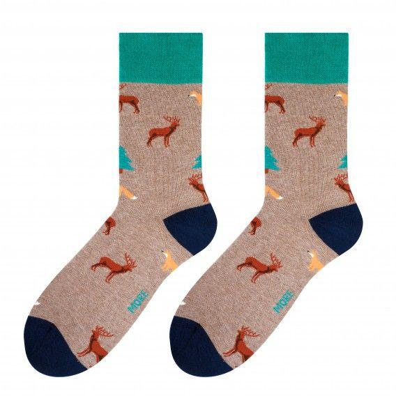 Hnedé pánske ponožky s lesným motívom