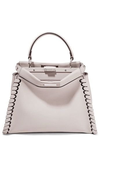 Fendi - Peekaboo Medium Whipstitched Leather Tote - Stone - one size