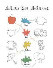English worksheet: colours - kindergarten