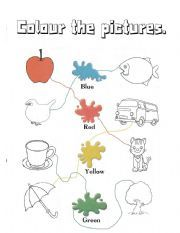 English worksheet: colours - kindergarten