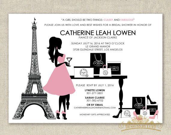 Sassy Cocktail Paris Shopping - Parisian Fashion Bridal Shower Invitation - DIY Printable - Digital Invitation File