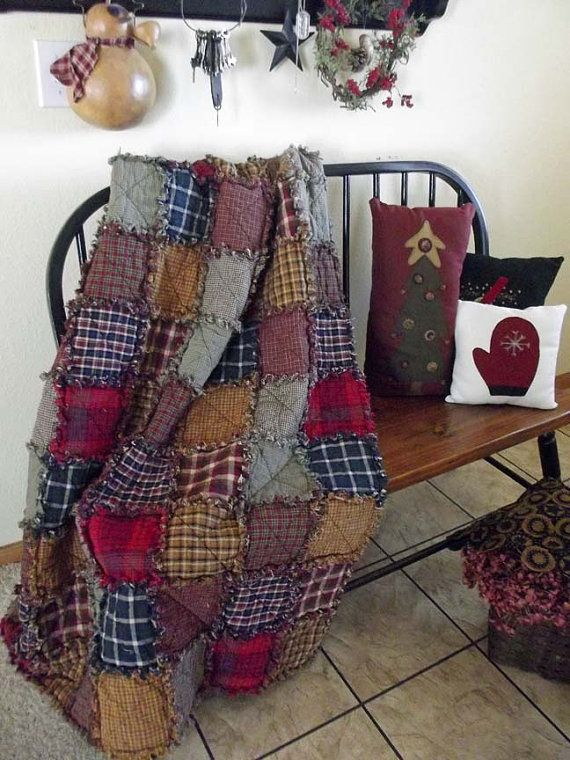 Ready to Ship Rag Quilt Throw  Rustic by TheLaughingBlackbird, $135.00