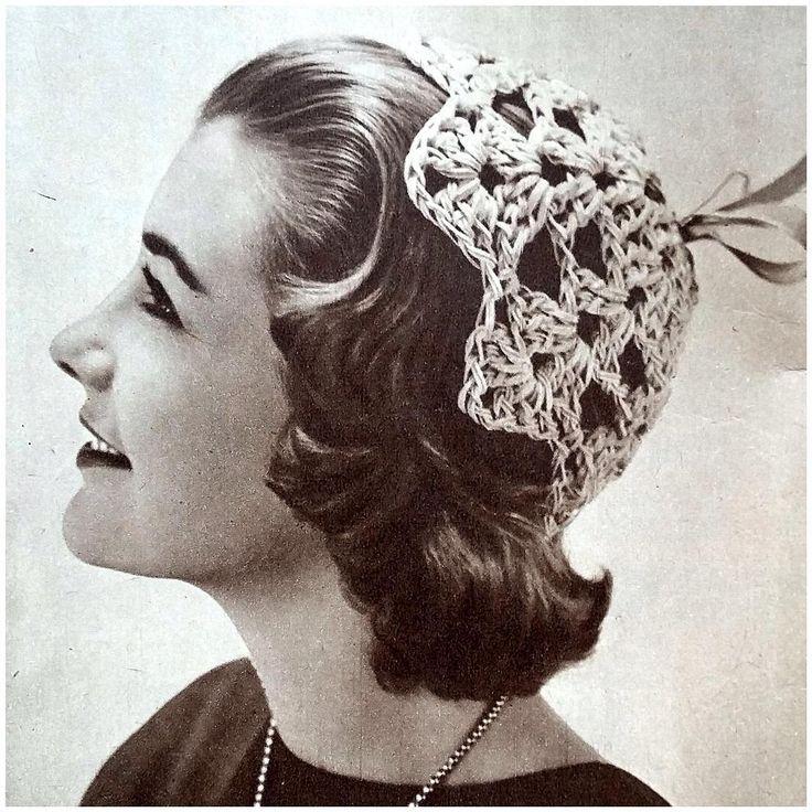 Hellehilkka heinäkuun 1955 kotiliedessä #kotiliesi #1955 #kesä #helle #virkkaus #crochet #vintage #nostalgia #käsityö