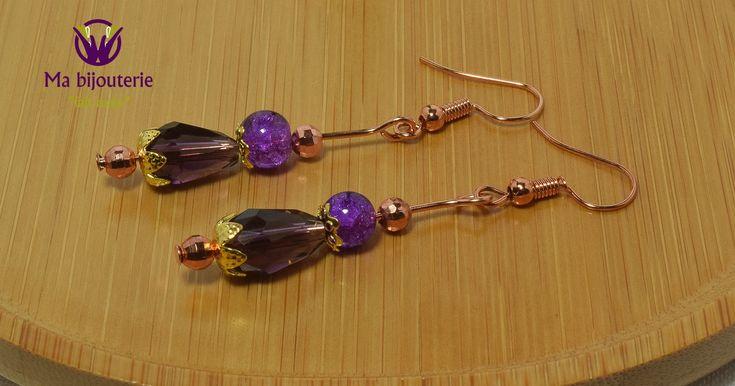 """Boucles d'Oreilles Originales """"Petites Perles d'Ornement en Cuivre"""""""