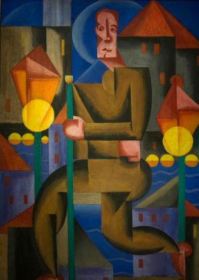 Bortnyik Sandor. (1893-1976). Hungarian post-impressionist. Influenced by cubism and constructivism. Moved to Weimar in 1922 and was connected to the Bauhaus movement.