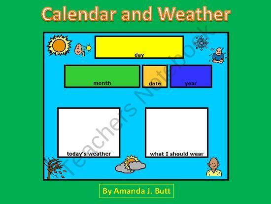 Todays Calendar and Weather - Autism; Special Education; Pre-School; Kindergarten; First Grade; Centers from Special Needs Shop on TeachersNotebook.com (26 pages)  - Todays Calendar and Weather (Choose the day of the week; month; date; year; todays weather and what I