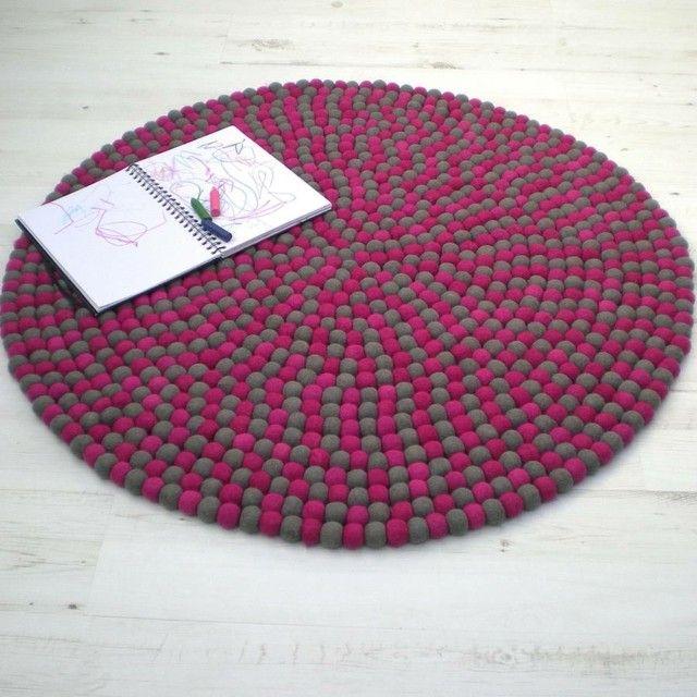 Superb rundes Teppich Weinrot Grau Farbe Kinderzimmer einrichten