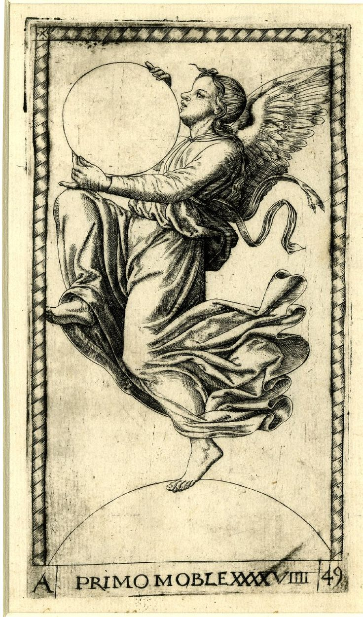 49 Winged figure moving to l; holding a large sphere; after the so-called Tarocchi Cards of Mantegna. Engraving