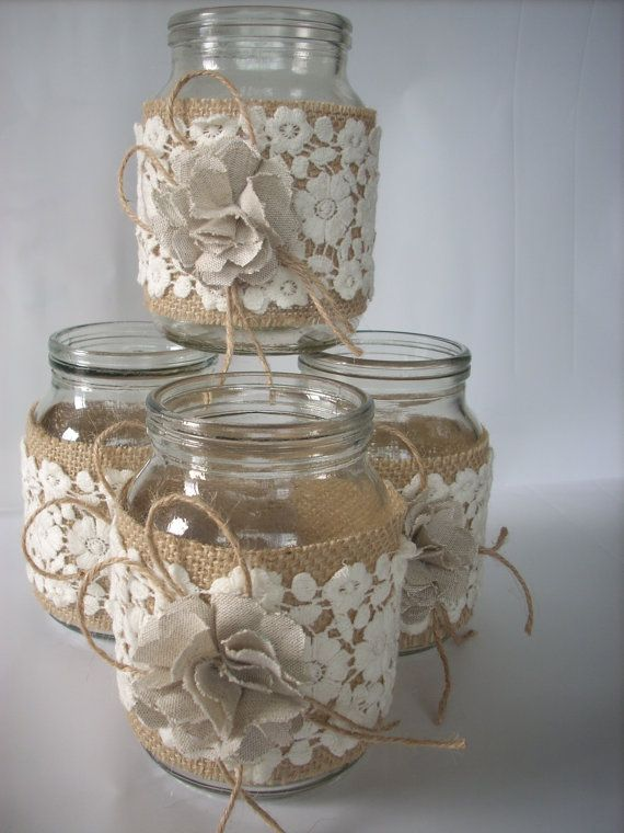 This listing is for a set of 4 hand-decorated jar. Decorated with burlap, lace and handmade flower fabric. They make a wonderful accent to