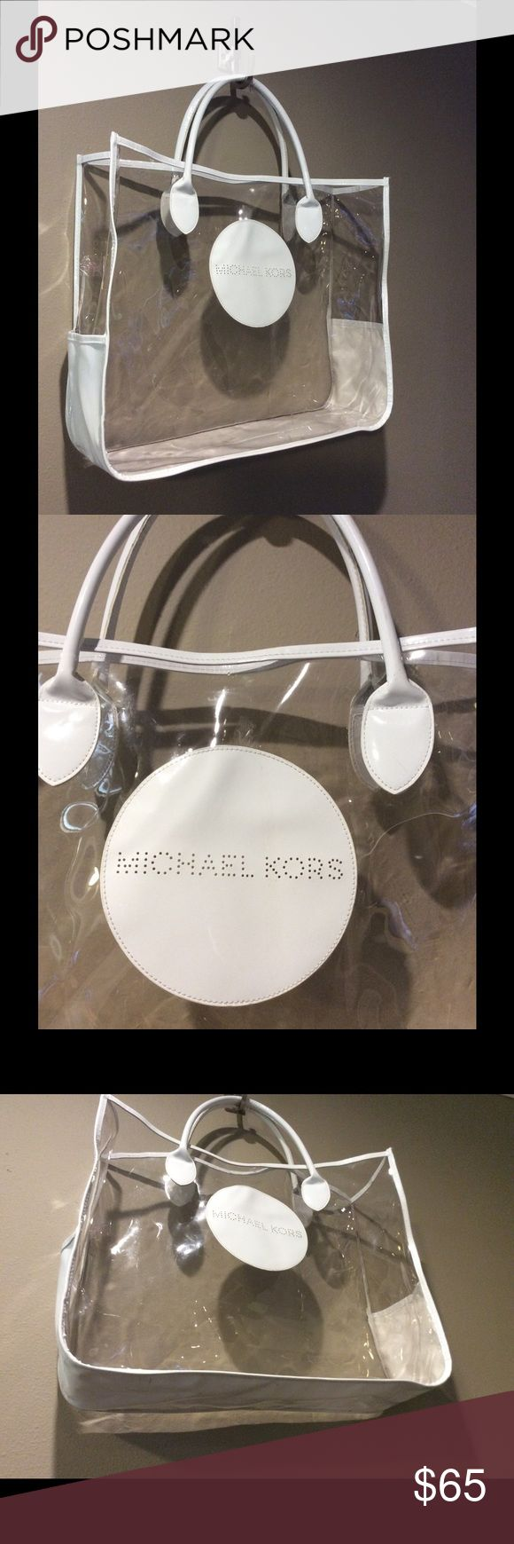 """MICHAEL KORS TRANSPARENT PLASTIC TOTE, XL This  extra large Michael Kors tote will carry to the beach, to the spa or to work. Measurements:18""""x 15.5"""" x 5.5"""" Michael Kors Bags Totes"""