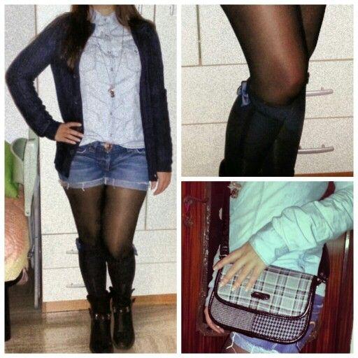 Short jeans longsocks jeans shirt Bag boots