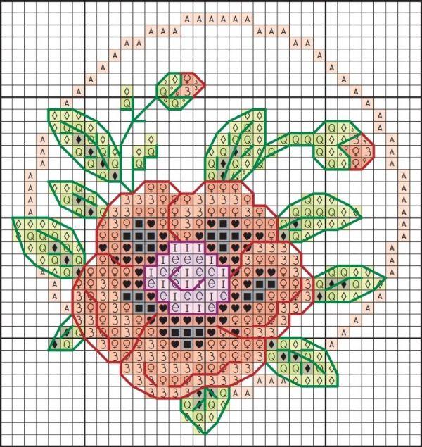 Схема вышивки крестом мака для подставки под чашку
