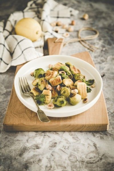 Cauliflower gnocchi with Brussels sprout and roasted hazelnuts