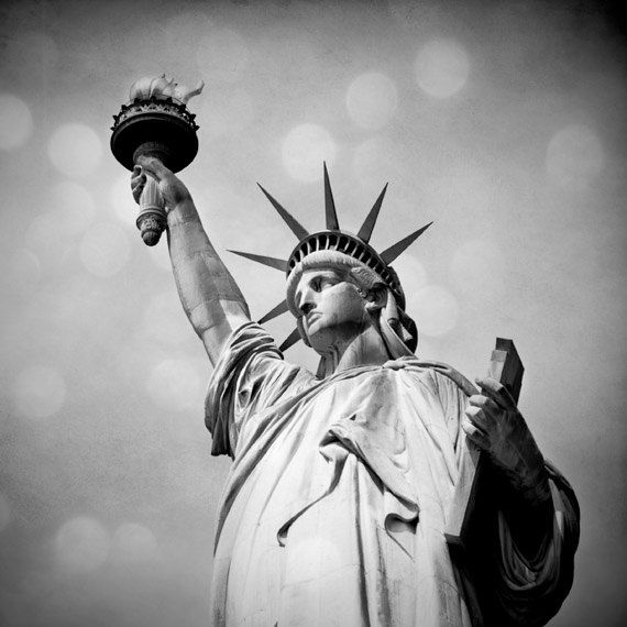 Statue of Liberty photo, New York City landmark, NYC photo, urban decor, neoclassical black and white fine art home decor