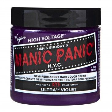 ULTRA VIOLET - HIGH VOLTAGE CLASSIC CREAM FORMULA HAIR COLOR | Darker than Lie Locks™, but lighter and bluer than Violet Night™, this purple is a royal shade of deep indigo. For a great matching lip, try our Lethal™ Lipstick in Violet Night™. Bleaching first to a level 9 or 10 is suggested to get the hue at its brightest. Vibrant color results are best achieved by applying to hair that has been pre-lightened with Manic Panic® Flash Lightning® Bleach Kits.