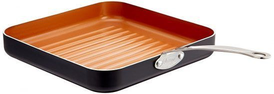 GOTHAM STEEL 10.5-inch Non-Stick Grill Pan with Ti-Cerama Surface.  When you can't fire up the grill, it's convenient to have a stovetop grill pan. A stovetop grill pan is a perfect choice if you're searching for a more handy way to cook your favorite foods indoors and creates those lovely lines on meat and vegetables so you can seriously impress your friends with your chef skills. https://bestgrillpanz.com/best-grill-pan-in-2017/