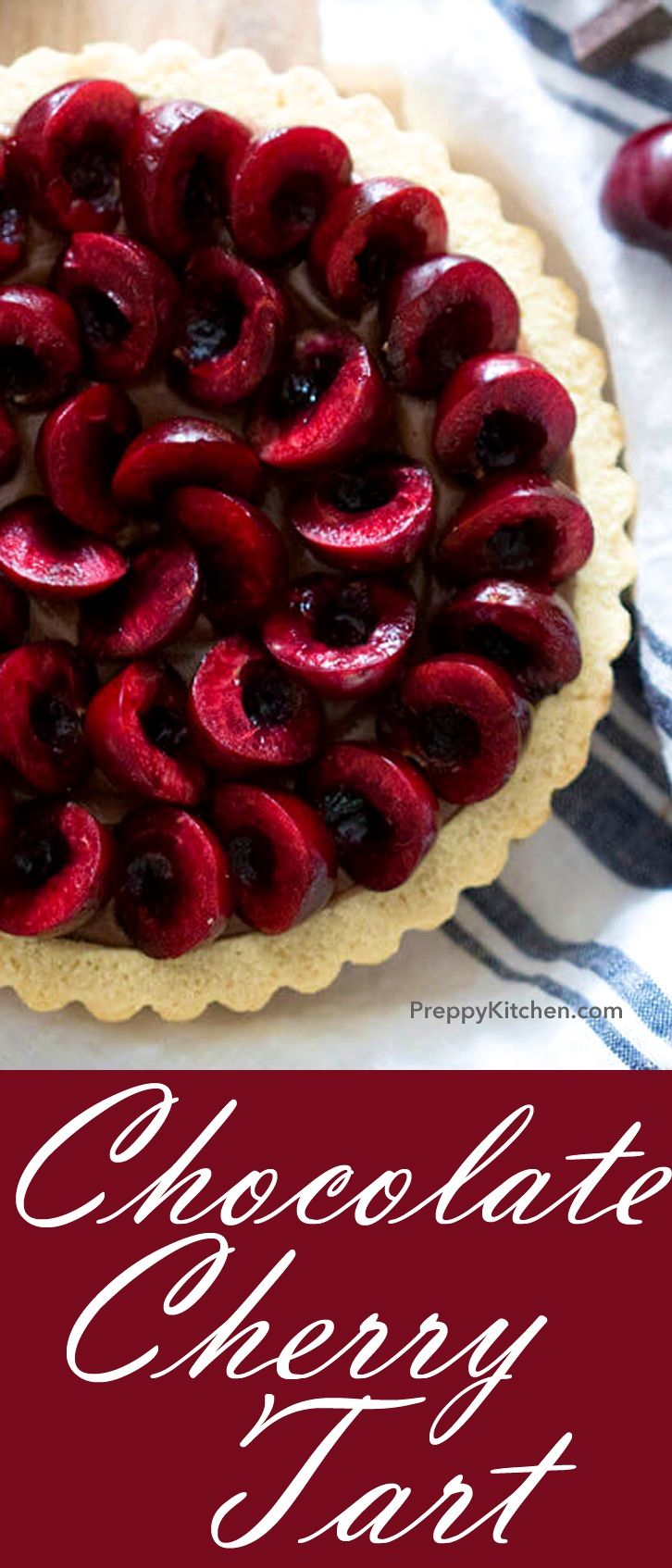 Chocolate Cherry Tart recipe is the perfect dessert for any occasion.  It is very easy to make