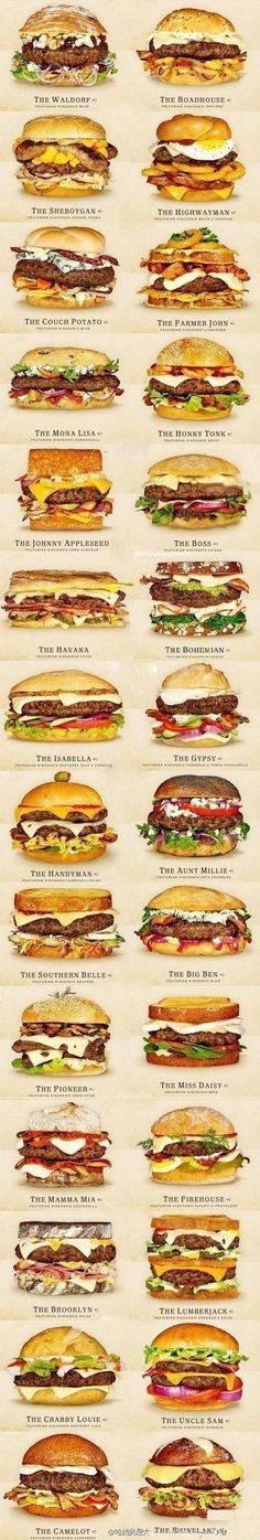 SANDWICHES:  HAMBURGERS | Cheeseburger Collection - featuring various Wisconsin cheeses.  If you're bored with everyday hamburgers, jazz up your burgers with one of these unusual topping combos!! | from burgerandcheese.com