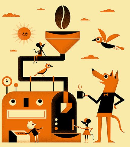 Ben Newman - Illustration for Clifton Coffee labels Tiphaine-illustration  #branding #coffee #coffeemachine
