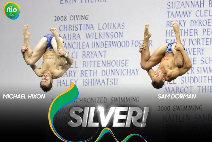 Michael Hixon and @Sam_Dorman1 just won #SILVER in the Men's Synchro 3M Springboard! #USA #Rio2016
