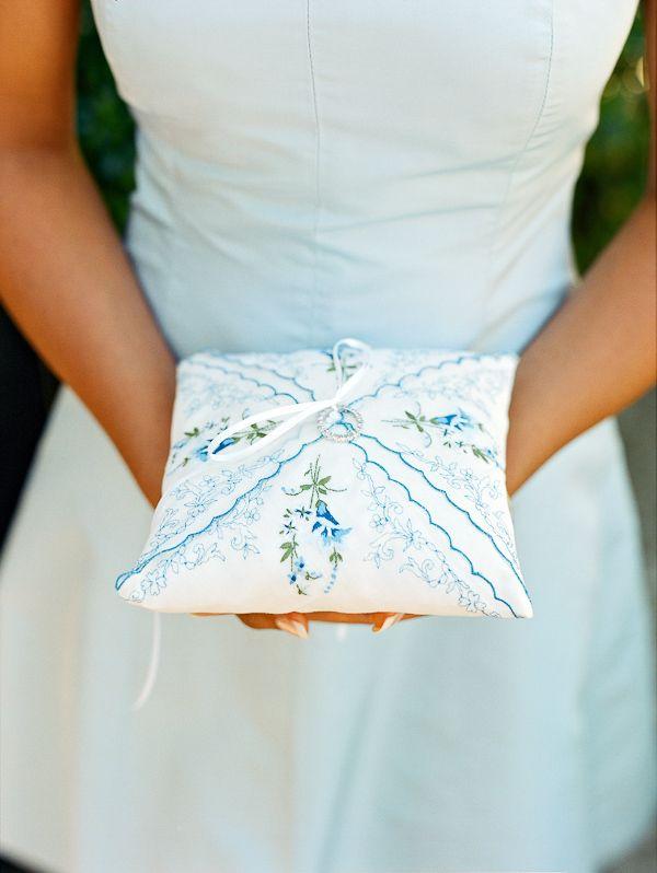 vintage handkerchief ring pillow