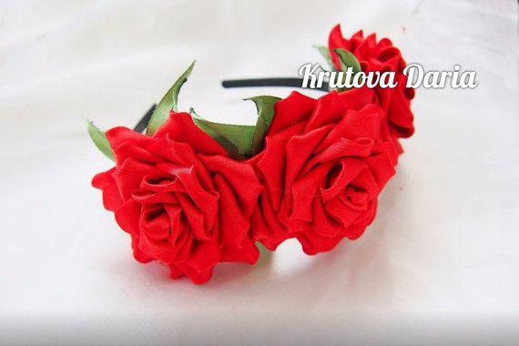 Red Rose Crown - floral headband, floral crown, flower crown, floral wreath, fascinator, festival crown, rose crown