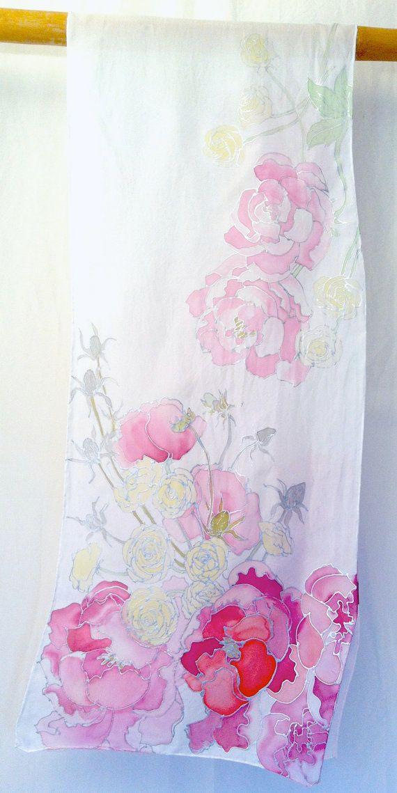 Hand Painted Silk Shawl Pink Spring Bouquet by SilkScarvesTakuyo